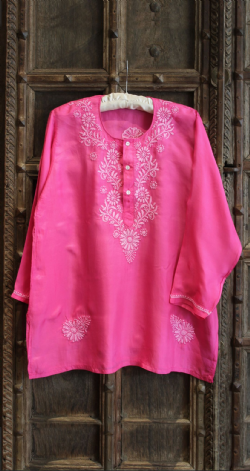 Hand Embroidered Pink Silk Shirt